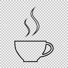Cup Of Coffee Line Vector Icon On Transparent Background Stock