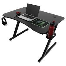 wyctin computertisch gamingtisch schreibtisch z förmige pc tisch mit becher und kopfhoererhalterung schwarz