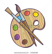 Art Palette With Paint Brush For Drawing Vector Illustration Isolated On White