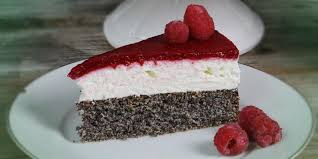 mohn quark torte mit himbeer topping low carb rezept