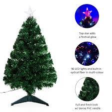 3ft Pre Lit Blue Christmas Tree by Homcom 3ft Pre Lit Led Optical Fiber Christmas Tree Artificial
