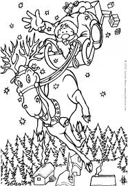 Reindeers And Sleigh Santa Claus Coloring Page