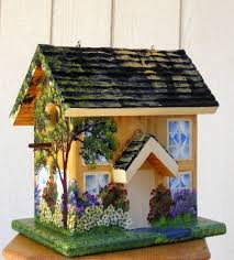Side View Of Yellow Birdhouse Handcrafted Cape Cod Style