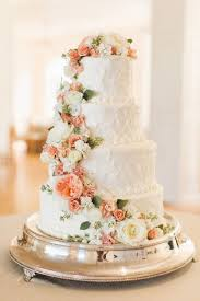 Vintage Wedding Cake With Peach Flowers