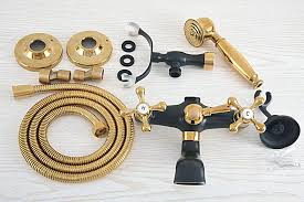 schwarz gold farbe messing wand halterung badezimmer badewanne wasserhahn dual kreuz griffe telefon stil dusche clawfoot filler ana522