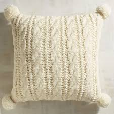 Pier One Outdoor Throw Pillows by Cable Knit Pom Pom Ivory Pillow Pier 1 Imports Bedroom
