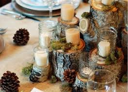 Decorations Lovely Traditional Christmas Table Decoration Idea With White Candles In Glass Jars Over Natural Wood Completed Brown Pine Cones And Green