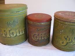 Vintage 3 Tin Kitchen Canister Set Flour Coffee & Sugar