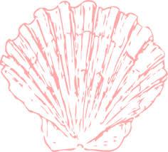 black outline drawing beach white clipart blue seashell clipart