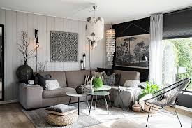bohemian style living room in shades of buy image