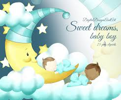 Baby boy clipart Sleeping baby clipart Sweet dreams baby