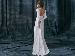 Razia Bohemian Rustic Wedding Dress Of Natural Fabric Linen Alternative Long Sleeves Bridal Gown Boho Low Back With