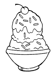 A Bowl Of Ice Cream Covered With Choco Sprinkles Coloring Pages