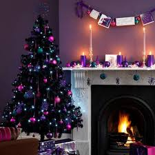 Purple Wall Paint And Christmas Tree Decorations In Pink Colors Candles Centerpieces For Fireplace Decorating