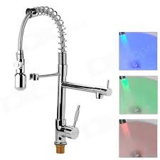 modern led color changing chrome finish kitchen faucet water tap