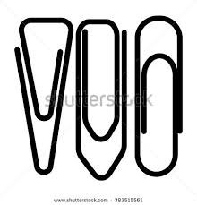 Vector simple paper clips black shapes