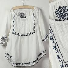 Vintage 70s Mexican Ethnic Flower Embroidery BOHO Hippie Women Clothing Casual T Shirt Tops Blusas Femininas Free Shipping In Shirts From Womens