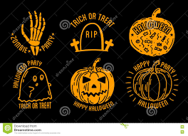 Michael Myers Pumpkin Designs by Happy Halloween Logo With Curving Pumpkins Stock Vector Image