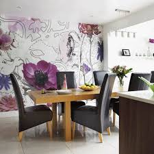 Modern Dining Room Wallpaper Ideas Large Floral Pattern