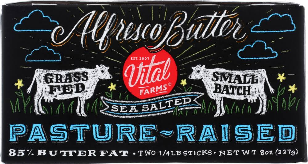 Vital Farms Butter, Sea Salted - 2 pack, 0.25 lb sticks