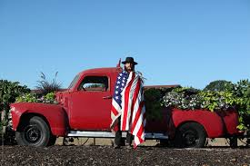 100 Truck Flag Americana Portrait Of A Cowboy Infront Of A Vintage Wrapped In
