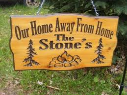Camping Sign Personalized Cedar Carved Wood Trees And Stone Campfire You Can Choose Your Wording
