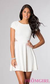 white dress short sleeve open back dresses promgirl