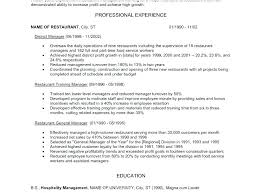 Resume Examples For Restaurant Manager Beautiful Objectives Example O Free Sample