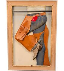 3 d cowgirl in jeans chaps u0026 cowboy boots display fram