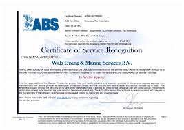 bureau of shipping abs certification diving company wals diving marine service
