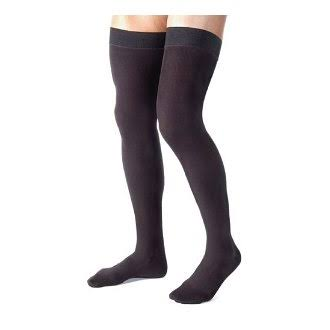 Jobst Thigh High Men's Closed Toe Socks - 20-30 mmHg, Large, Black
