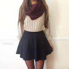 White Sweater Black Skirt And Maroon Scarf Are A Perfect Combo