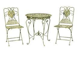 salon de jardin 1 table et 2 chaises fer forgé style antique