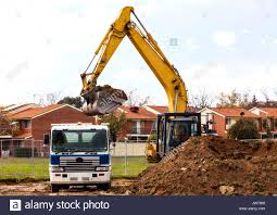 Loading Soil For Removal Into Tip Truck Stock Photo: 153210064 - Alamy