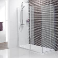 Modern Shower Design With Glass Wall And White Base Fits With
