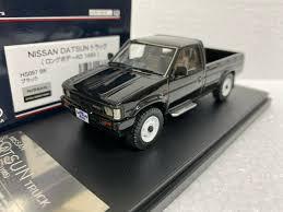 100 Datsun Truck 143 HI STORY HS097BK NISSAN DATSUN PICK UP TRUCK LONG BODY 1985 BLACK Model Car