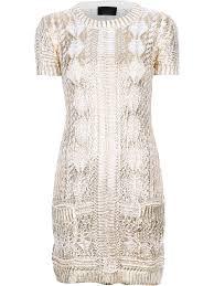 philipp plein metallic open knit dress in natural lyst