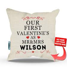 Personalized Our First Valentine s as Mr & Mrs Throw Pillow