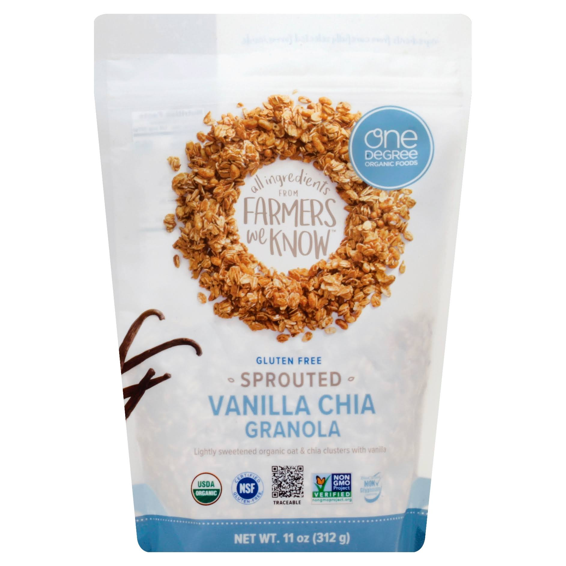 One Degree Sprouted Oat Granola - Vanilla Chia, 11oz