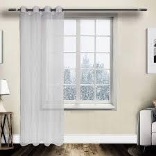 gardine vorhang transparent ösen mit muster weiss