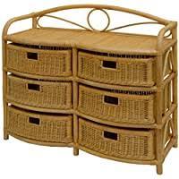 terracotta korb outlet regal aus echtem rattan 2 schübe