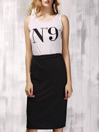 stylish print scoop neck top and black skirt set for women in