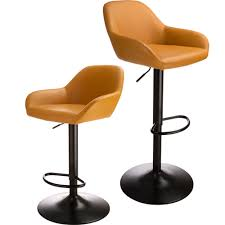 Details About Glitzhome 2x Mid-Century Bar Stool PU Leather Adjustable  Height Swivel Pub Chair