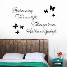 Kiss Me Goodnight Butterflies DIY Art Vinyl Quote Wall Sticker Decal Mural