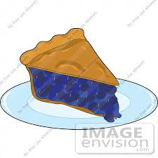 Clipart of a Warm Slice Fresh Blueberry Pie Served A Diner Plate