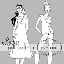 crossover tunic or dress xs xxxl wrap pdf sewing pattern
