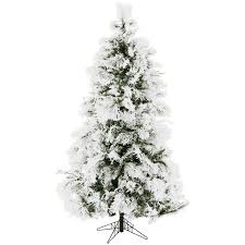 Snowy Pine 65 White Aritificial Christmas Tree With Stand And Flocked Branches
