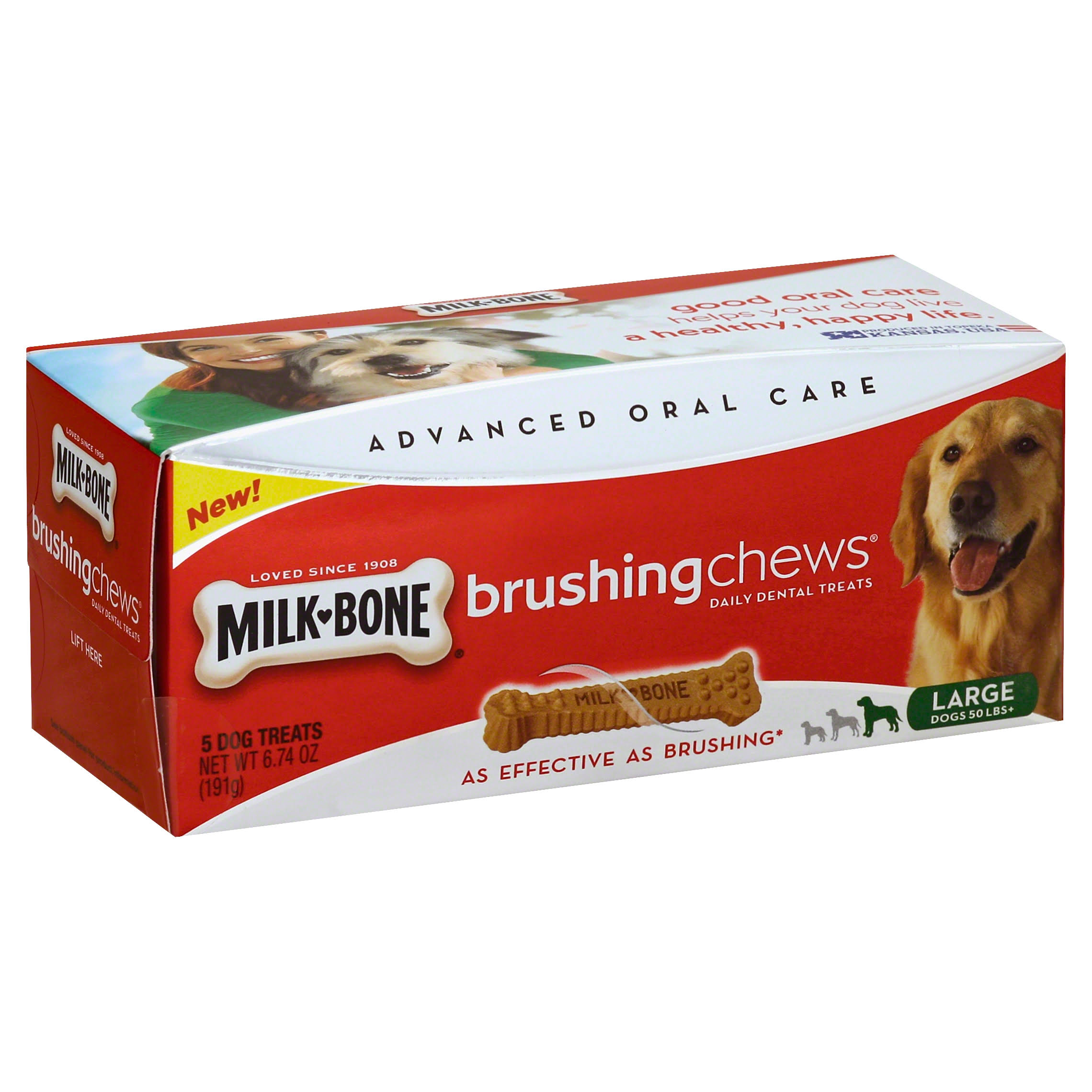 Milk-Bone Brushing Chews Daily Dental Treats - Large, 6.74oz