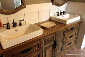 Diy Rustic Bathroom Vanity by Remodelaholic How To Achieve A Restoration Hardware Weathered
