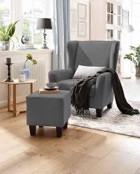 home affaire sessel chilly set 2 tlg bestehend aus sessel und hocker mit bequemer federkern polsterung in drei unterschiedlichen